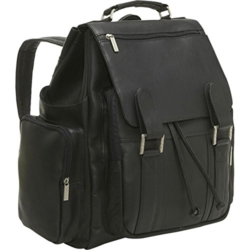 Le Donne Leather Large Traveler Backpack (Black)