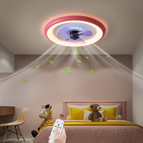 OMGPFR Moderno Ventilador de Techo con Luces y Control Remoto, LED 48W Atenuación Lámpara de Techo, Regulable Lámpara de Techo con Ventilador por Sala Cuarto Oficina Cocina Encendiendo, Ø50CM,Rosado