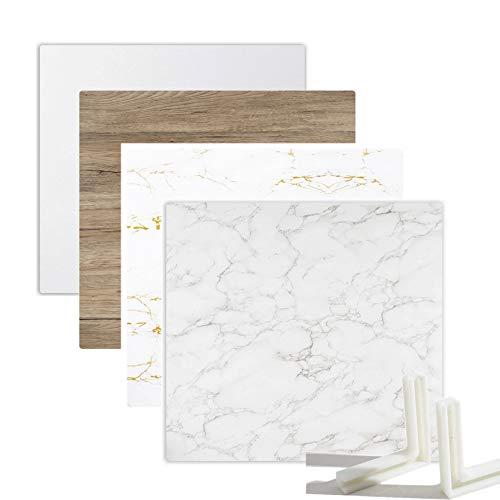 Selens 2X Hintergrund Boards Kit 55x55cm, Weiß Marmor Holzmaserung Textur Doppelseitiger Essen Hintergründe Flat Lay Vertikale Tischplatte Fotografie...