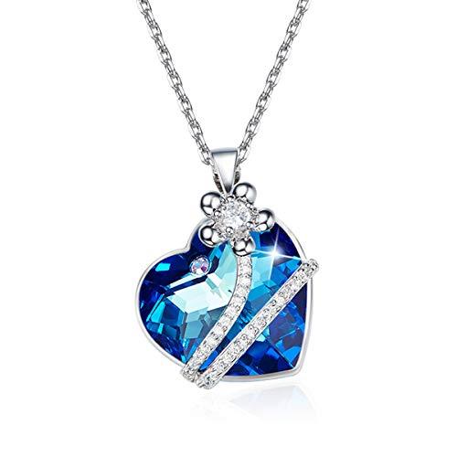 CRYSLOVE Herz des Ozeans' Halskette Damen mit Kristall, Schmuck Damen, Kette Damen, Weihnachtsgeschenke, Kette Herz