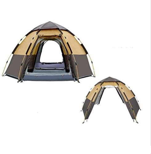 Soul hill Winter Double Layer Automatic Open Tent Quick 2-3 Person Double Layer Automatic Open Tent Large Camping Family For Outdoor Recreation Party Tents Awning Beach Tent Brown