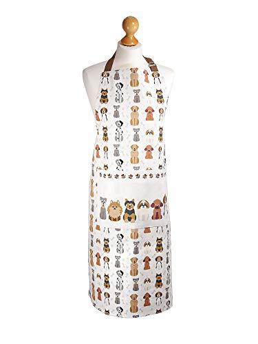 SPOTTED DOG GIFT COMPANY Küchenschürze für Frauen Damen Hundemotiv Kochschürze Baumwolle mit Taschen zum Kochen, Hund Geschenk für Hundeliebhaber