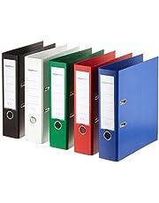 Amazon Basics - Archivador de palanca, cubierta de PP, lomo con bolsillo, Certificación FSC, A4, lomo de 80 mm de ancho, paquete de 10, colores surtidos