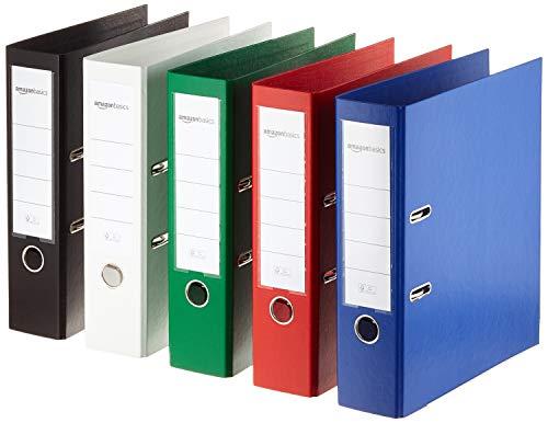 AmazonBasics - Archivador de palanca, cubierta de PP, lomo con bolsillo, Certificación FSC, A4, lomo de 80 mm de ancho, paquete de 10, colores surtidos