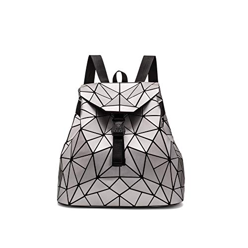 QXbecky Rucksack matt gebürstet rhombische Tasche großen chaotischen Dreieck Rucksack Damen Rucksack Casual Bag Silber 40x35x16cm