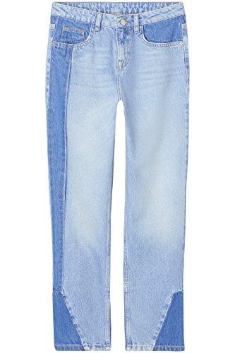 Amazon-Marke: find. Straight Cut Jeans Damen Patchwork und mittelhoher Bund, Blau (Light Blue),  L