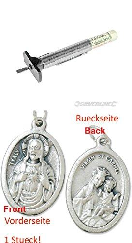 Silverline Reifenprofilmesser, 1 – 25 mm, Profiltiefenmesser, Profilmesser, Tester, Prüfer (929977380151) mit Anhänger Herz Jesu 2,5cm