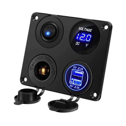 Thlevel Panel de Enchufes 4 en 1, con Doble Cargador USB y Voltímetro de LED y Encendedor de Cigarrillos y LED Azul Interruptor