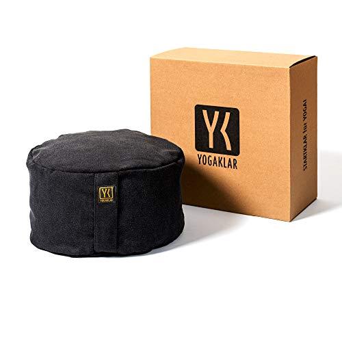 Yoga- und Meditationskissen 8 cm aus Baumwolle, gefüllt mit Buchweizenspelzen – stabil, pflegeleicht und umweltfreundlich – STARTKLAR für...