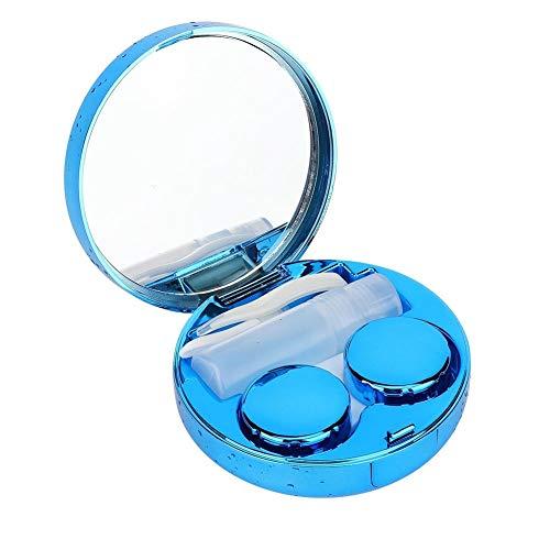 BLLBOO Tragbare Runde Reflective Kontaktlinsen-Aufbewahrungsbehälter-Kasten-Behälter-Halter (blau)