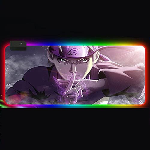 POWARM Alfombrilla De Ratón para Juegos RGB Grande Anime Naruto 14 Modos De Iluminación Led Escritorio Antideslizante Goma Impermeable Computadora Teclado Alfombrilla Ratón-011_250X350X4Mm
