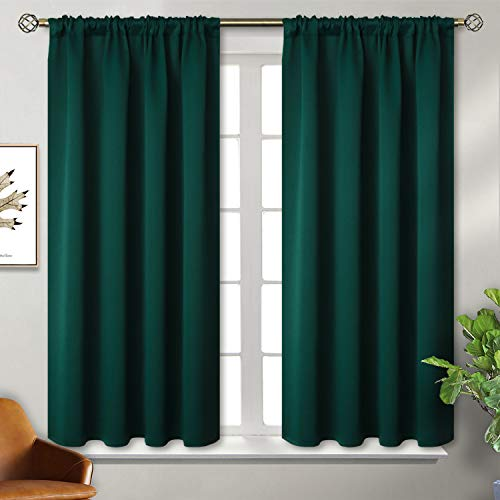 BGment Rod Pocket Blackout Curtains for Bedroom - Thermal Insulated Room Darkening Curtain for Living Room, 42 x 45 Inch, 2 Panels, Emerald