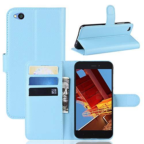 MISKQ Funda para Xiaomi Redmi Go/Xiaomi Redmi Go,Funda con diseño de Cartera,Estuche para el teléfono Anti caída,Estuche de Silicona(Azul)
