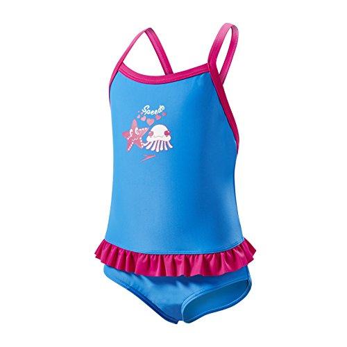 Speedo Mädchen Kinder Badeanzug Fantasy Blumen Rüschen, Badeanzug, 5053744317137, Neon Blue/Electric Pink/White, 6-9 Months