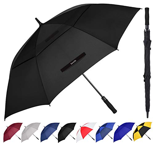 BARAIDA Golf Umbrella Large 54/62/68 Inch, Extra Large Oversize Double Canopy Vented Windproof Waterproof Umbrella, Automatic Open Golf Umbrella for Men and Women and Family(62 inch, Black)