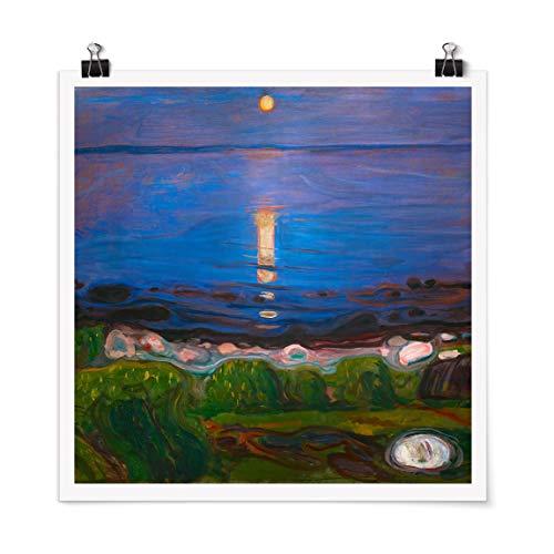 Bilderwelten Poster Edvard Munch - Sommernacht am Meeresstrand Quadrat, Glänzend 30 x 30cm