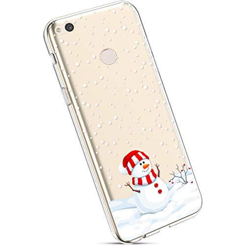 Ysimee Coque Huawei Nova Lite Noël, Étui Housse en Silicone Transparent avec Motif Christmas Ultra Léger et Mince Crystal Clear TPU Flexible Coque pour Huawei Nova Lite,Bonhomme de Neige