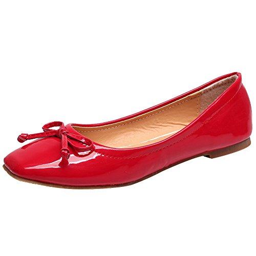 Jamron Damen Schön Krawatte Ballerinas Bequem Quadratische Zehe Schlüpfen Halbschuhe Niederung Slippers Pumps Dolly Schuhe Rot SN02911 EU42