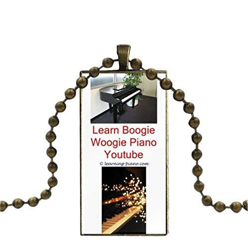 Uofr Piano Key Music Note Schöne Glas Cabochon Anhänger Halskette Rechteck Mode Halskette für Männer Frauen Party Geschenk