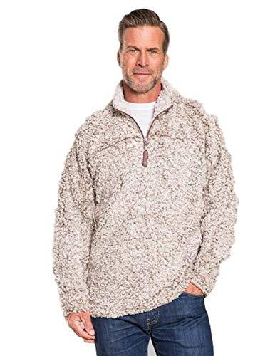True Grit Mens Frosty Tipped 1/4 Zip Pullover Brown (S)