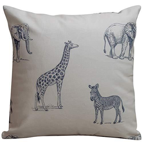 Linen Loft Safari Animal Print Cushion Cover. Double sided, 17x17 Square. 100% Cotton Cream Background with Illustrated Animal Design. Zebra, Giraffe, Elephants. Handmade in the UK.