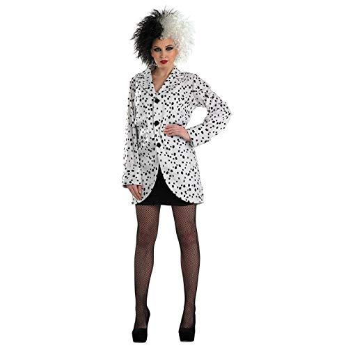 Fun Shack Weißes Dalmatiner Kostüm für Damen, Böse Frau Jacke, Halloween Karneval - XL