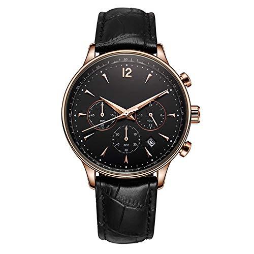 irugh Reloj de Cuarzo analógico, Reloj de Cuarzo Resistente al Agua de Alta Gama, multifunción, Suizo para Hombres de Cuero.