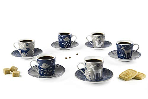 Excelsa Suomi Juego de 6 Tazas con Plato, Porcelana