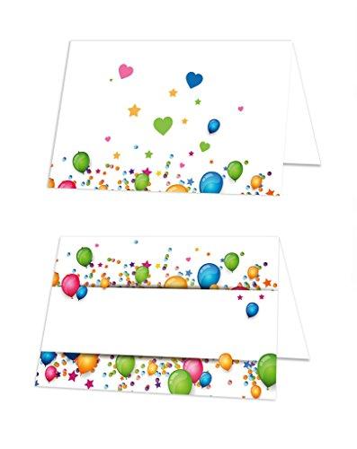 50 Stück kleine blau rot gelb grün bunte LUFT-BALLON Kinder Tischkarten Geburtstag Schulanfang Namens-Schilder Namens-Kärtchen kleine Sitzkarten Platzkarten - mit jedem Stift beschreibbar!