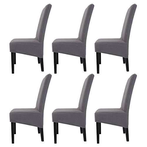 ele ELEOPTION Stuhlhussen Strechhusse Spandex Stuhlüberzug Hochwertige Massive Stuhlabdeckung mit Gummiband Dekorieren für Esszimmer Hotel Bankett (6er Set, Grau2)