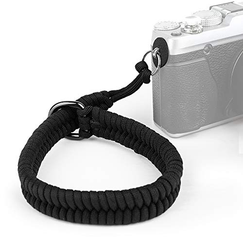ORMY Correa de muñeca para cámara (550 cuerda de paracaídas), excelente y seguro correa de mano ajustable para Nikon/Canon/Sony, Panasonic/Fujifilm/Olympus (negro)