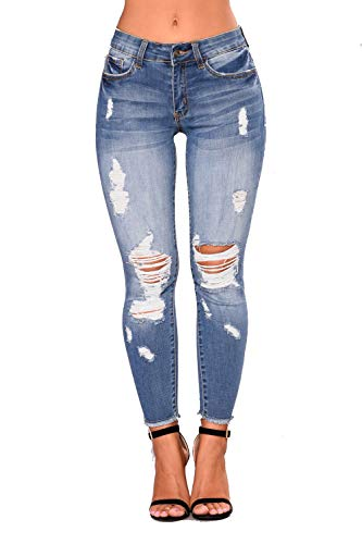 Women High Waist Skinny Stretch Ripped Jeans Cropped Knee Destroyed Denim Pants Light Blue