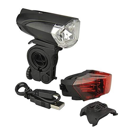 FISCHER Fahrrad Batterie USB LED Beleuchtungs-Set |Frontleuchte | Rückleuchte |35 Lux | mit Tagfahrlicht |schwarz