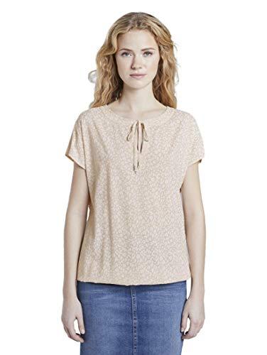 TOM TAILOR Damen Musterbluse Bluse, Beige Small Leo Design, 38