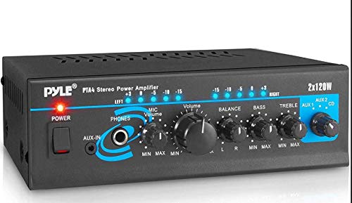 Home Audio Power Amplifier System - 2X120W Mini Dual Channel Mixer Sound Stereo Receiver Box w/ RCA, AUX, Mic Input - For Amplified Speakers, PA, CD Player, Theater, Studio Use - Pyle PTA4 (Renewed)