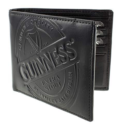 Guinness - Portafoglio in pelle con etichetta nera, taglia unica, colore: Nero