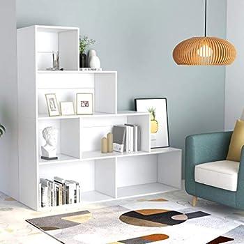 Bookcase Display Shelf and Room Divider Sideboard Freestanding Decorative Storage Shelving 6 Open Shelves-Bookshelf for Living Room Office Bedroom Library