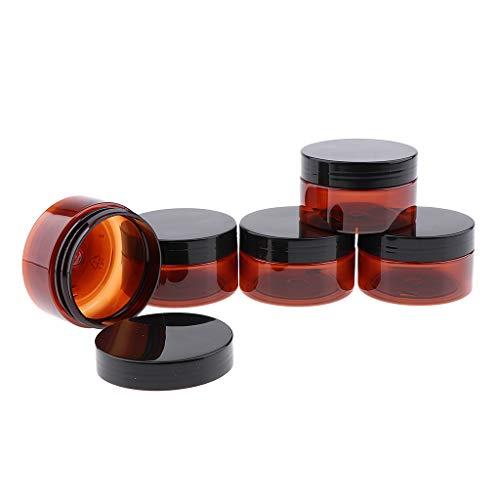 SDENSHI 5pcs 100g Pots Cosmétiques En Plastique Vides Avec Couvercle Pour Les Crèmes Pour Le Visage Lotions - Couvercle en plastique noir