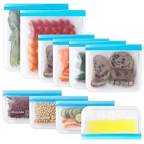 10 PACK Reusable Food Storage Bags - BPA FREE Flat Freezer Bags (2 Freezer Safe Gallon Bags + 4...