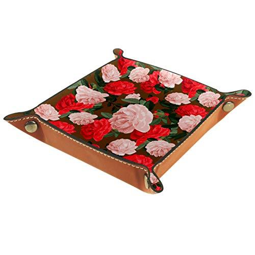 Bandeja de Valet Cuero para Hombres - Hermosas Flores de Camelia Rosa roja - Caja de Almacenamiento Escritorio o Aparador Organizador,Captura para Llaves,Teléfono,Billetera,Moneda