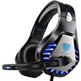 Pacrate Gaming Headset for PS4, Xbox One, with Noise Cancelling Mic - Pro Stereo Surround Sound Over Ear Gaming Headphones with LED Lights for Mac, Laptop, PC