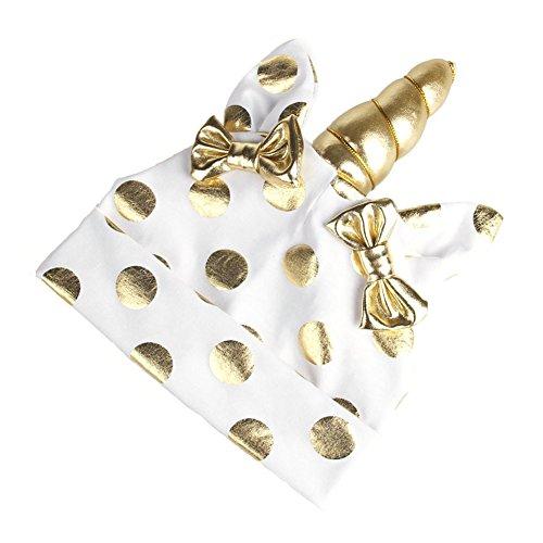 TININNA Coton Bowknot Dot Hat avec Licorne Mignon Bébé Beanie Cap Chapeau Protection Des Oreilles Chapeau Casquette Photo Accessoires pour Bébé Enfants Garçons Filles Blanc