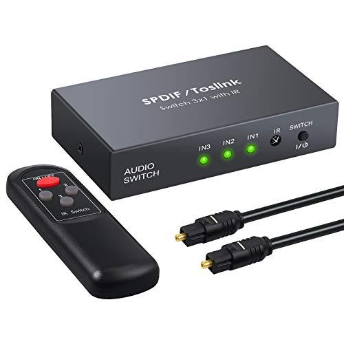 SPDIF Toslink Switcher 3 in 1 Out Digital optische Audio Umschalter von LiNKFOR mit IR Fernbedienung unterstützt PCM2.0 DTS Dolby-AC3 für TV, PS3, PS4, Blu-ray Player, Kabelbox, HDTV