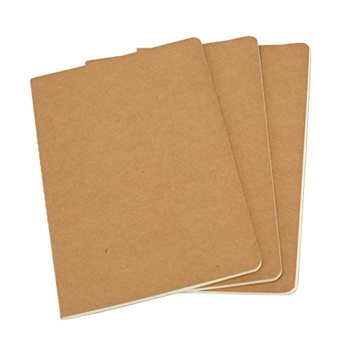 Unlined Travel Journal Set With 3 Notebook Journals for Travelers - Kraft Brown Soft Cover - A5 Size - 100gsm - 210 mm x 140 mm - 60 Pages/ 30 Sheets