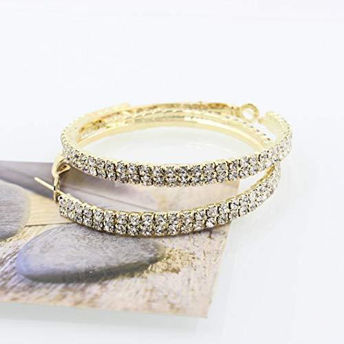 jieGorge 1 Pair Double Row Rhinestone Luxury Crystal Rhinestone Earring Ear Hoop Dangle , Earrings , Products for Xmas Day (Gold)