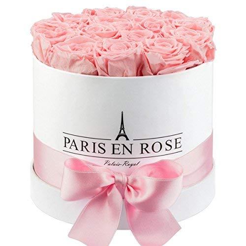 PARIS EN ROSE Rosenbox Palais-Royal Classic | 3 Jahre haltbar | Weiße Rosenbox mit rosa Infinity Rosen | Flowerbox mit 13-15 konservierten Blumen