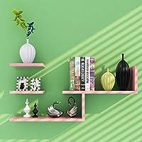 家具装飾壁掛け木製L字型フローティング収納棚モダンミニマリスト装飾本棚ラック5