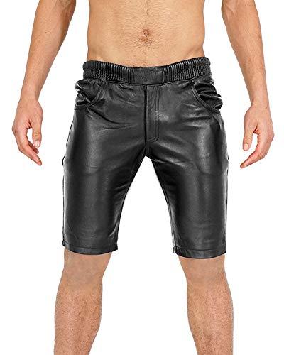 Bockle® Joggers Shorts Black Schwarze Lamm Leder Shorts für Herren Lederhose Herren, Size: XXXL