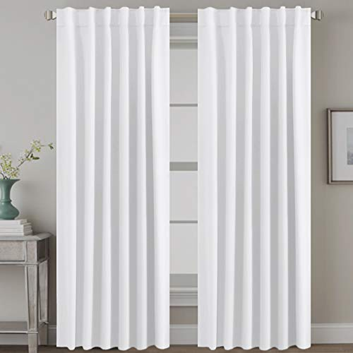 H.VERSAILTEX White Curtains Thermal Insulated Window Treatment Panels Room Darkening Privacy Assured Drapes for Living Room Back Tab/Rod Pocket Bedroom Draperies, 52 x 84 Inch, 2 Panels
