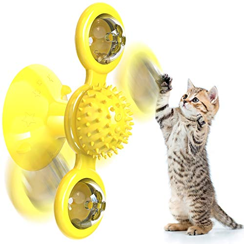 Windmill Cat Toy Interactive Cat Toys for Indoor Cats Chew Turntable Teasing Catnip Toys Cat Toothbrush Funny Kitten Toys Cat Hair Brush Massage Scratching Best Spinning Kitty Toy with Suction Cup